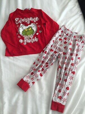 Girls Christmas Xmas Eve The Grinch Dr Seuss Age 3-4 Years Pyjamas Pjs Nightwear