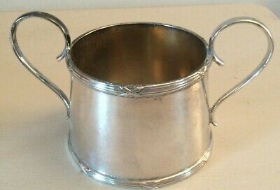 Vintage two handled  Silverplate  Crested Sugar  Bowl