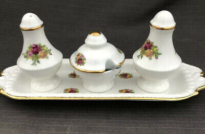 ROYAL ALBERT OLD COUNTRY ROSE Rare Cruet Set First Quality Made In England