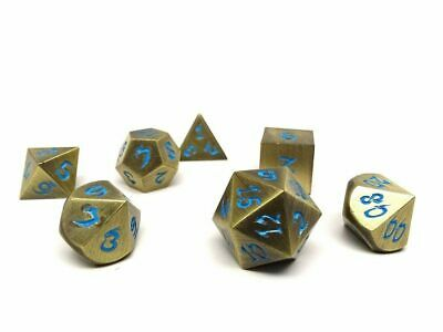Metal Dice of Ancient Dragons - Ancient Bronze with Powder Blue Dragon Font