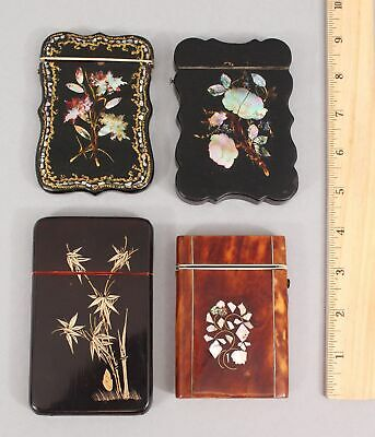 4 Antique Victorian Mother of Pearl Inlaid Card Case Boxes, No Reserve!