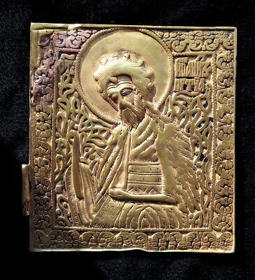 Old Russian copper cast icon of John the Baptist, part of the triptych deisus