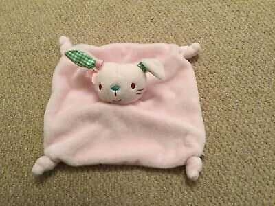 Boots Mini Club Pink Bunny Rabbit Green Check Ears Baby Comforter Soft Toy