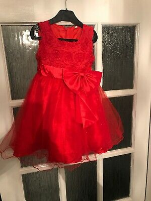 Girls Red Xmas Party Dress Aged 3 - 4 Post Next Day Look!!