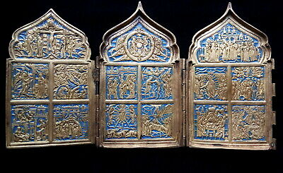Orthodox Russian Icon Folding 19Th Century Copper Casting Holidays