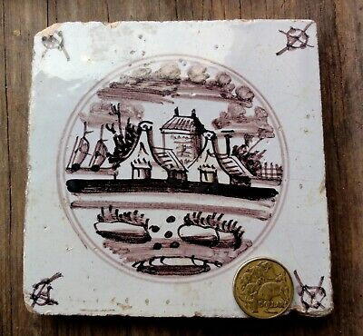 """EARLY 18thC DUTCH 5"""" SQUARE MAGENTA PATTERN TILE. RURAL VIEW. GENUINE.  DELFT ??"""