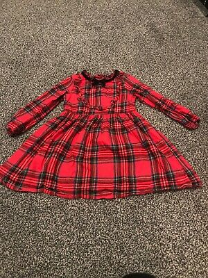 Girls Next Red Tartan Christmas Dress, Age 3-4