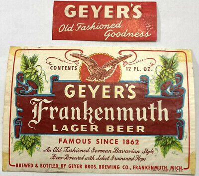 Geyer's Bros Frankenmuth Lager Beer Label Dated 1952 & Neckband  Michigan Geyer