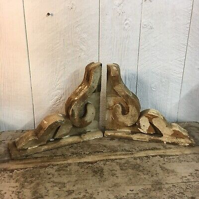 Pair Of Small Victorian Style Architectural Wood Corbels Farmhouse Shic