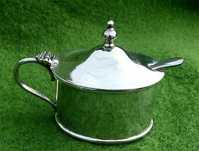Stylish Antique Silver Plated Mustard Pot With Spoon - Estate Clearance