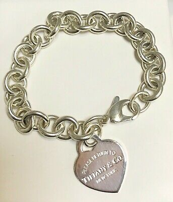 """Pre-Owned Tiffany Co Sterling Silver Return To Heart Charm Rolo Bracelet 7 6/8"""""""