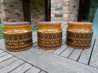 Vintage Hornsea mid century modern pottery kitchen containers tea/coffee/salt.