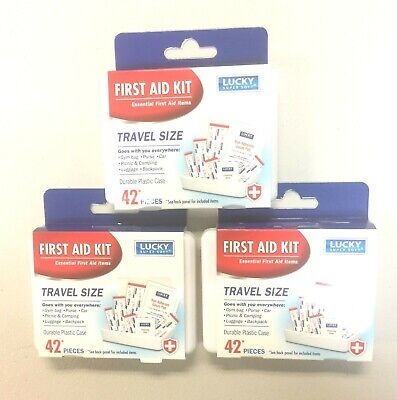 3X Pack of 42 Essential First Aid Kit Emergency Bag Home Car Office Travel Kit