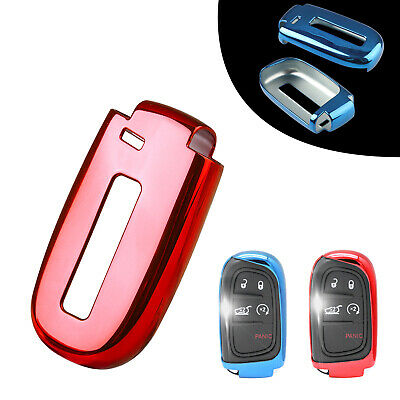 Red Soft TPU Remote Smart Key Cover Fob Case Fit for Dodge Jeep Chrysler 2 GUG