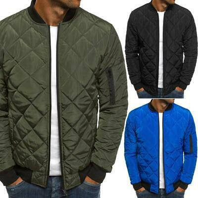 Warm Winter Men Long Sleeve Chic Diamond Pattern Stand Collar Padded Jacket USA