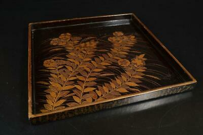 A3711: Japanese Flower gold lacquer pattern WOODEN TRAY/Ornamental plate