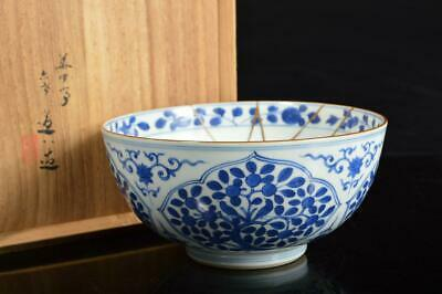 A2904: Japanese Old Kiyomizu-ware DESSERT BOWL/dish, Dohachi made w/signed box