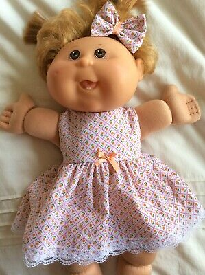 "DOLLS CLOTHES TO FIT 14"" CABBAGE PATCH DOLL -  Dress, Hair Bow - Small Tulips"