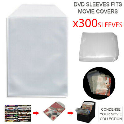 300pcs DVD Plastic Sleeves Fits Movie Covers w/ Flap Movie Collection AU Stock