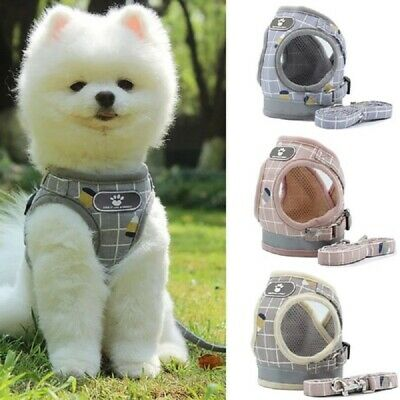 Puppy Small Dog Cat Harness and Walking Leads Set Pet Breathable Plaid Vest