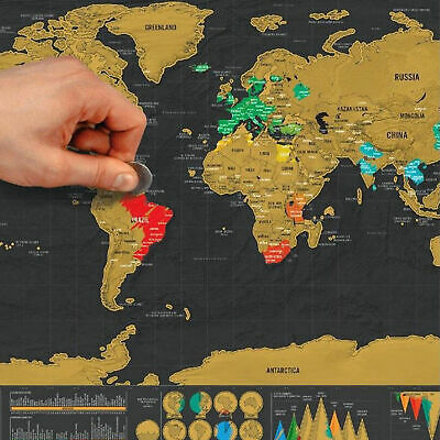 Deluxe Small Scratch Off World Map Poster Personalized Travel Gift Wall Decor