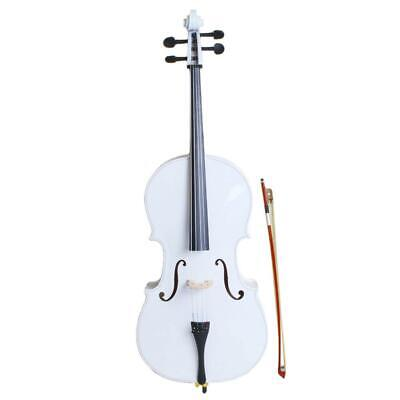 New 4/4 Size Top Professional Basswood White Cello +Bag+ Bow+ Rosin + Bridge