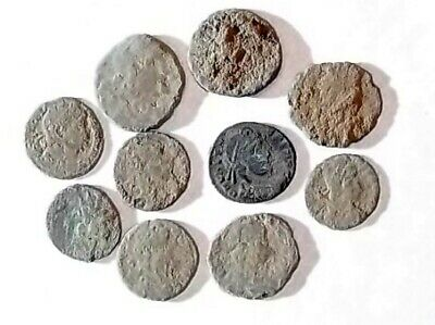 10 ANCIENT ROMAN COINS AE3 - Uncleaned and As Found! - Unique Lot 21724