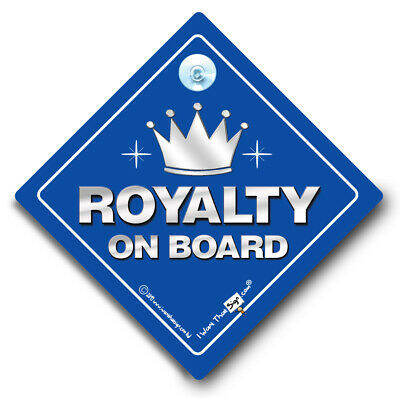 Royalty On Board Car Sign, Baby On Board Style Suction Cup Sign