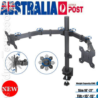 """Dual HD LED Monitor Arm Stand TV Mount Holder 2 Arm Display For 10""""- 27 """" Screen"""