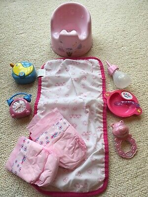 Baby Born Doll ACCESSORIES BUNDLE. Baby Monitor(Sounds) Real Alarm Clock, Potty+