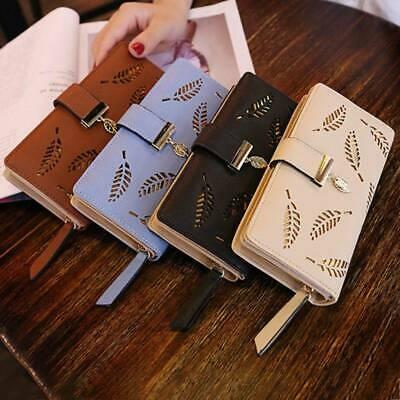 New Women Leaves Wallets Hollow Out Leaf Long Clutch Purse Card Holder Leather
