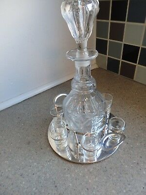 Antique Silver Plate Decanter & Shot Glasses Stand by John Grinsell & Sons