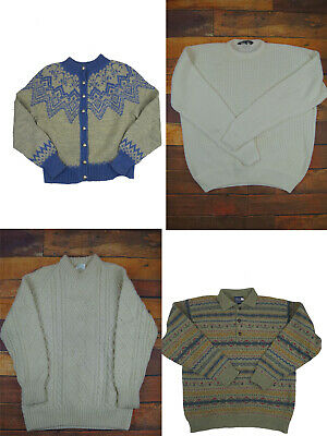Job Lot Of 6 Vintage Jumpers & Cardigans - Cable Knit - Wool - Small Faults