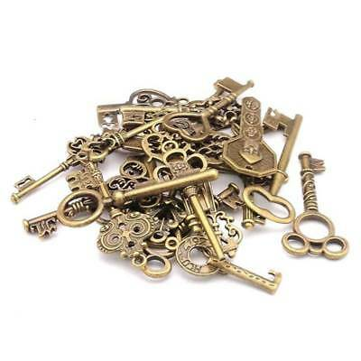 100g Antique Vintage Old Look Bronze Skeleton Keys Fancy Heart Bow Pendant-