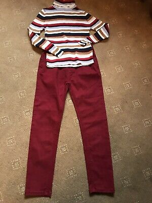 Girls M&S Winter Polo Neck Jean Outfit Maroon Age 8-9