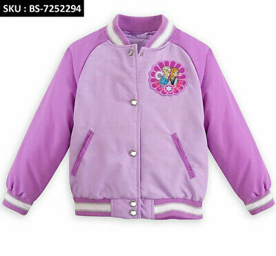 """Anna And Elsa Varsity Purple Jacket For Girls """"Frozen"""" With Free Shipping"""