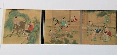 Set Of Three Antique Chinese Watercolours On Silk