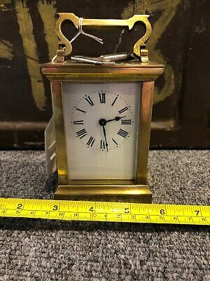 Antique English/French Brass Cased Carriage Clock with Key (Working)