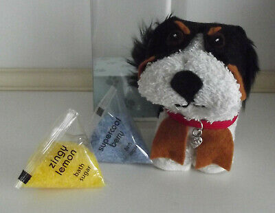 BERNESE MOUNTAIN DOG UNIQUE FUNNY dog FACE FLANNEL & BATH SUGAR in DISPLAY BOX