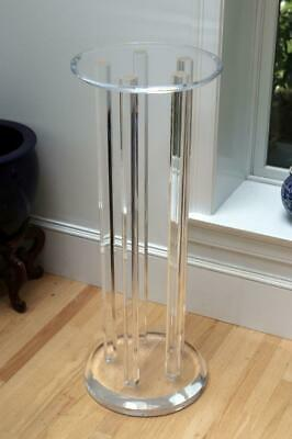 "Mid Century Round Clear  Lucite Stand  Pedestal 39"" Height for sculpture"
