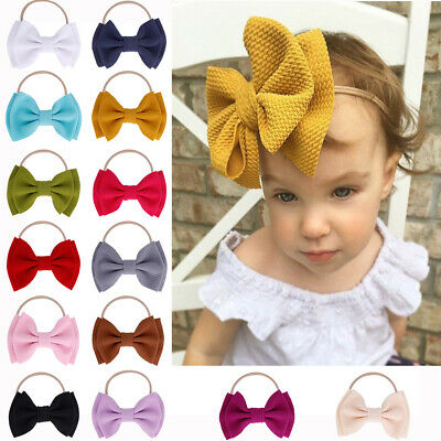 Baby Girls Kids Toddler Bow Knot Hairband Headband Stretch Turban Head Wrap-