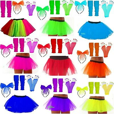 Girls Neon Tutu Set Leg Warmers Fishnet Gloves Hair Bow Fancy Dress Party