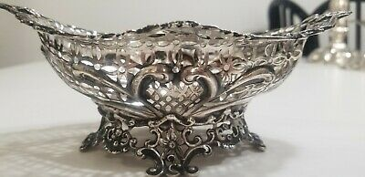 English Victorian Sterling Silver Lacy Oval Bowl  1890'S