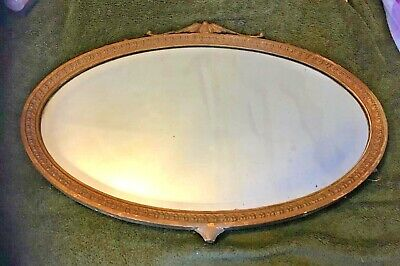 """Antique Collectible Ornate Gold Plastered Framed Mirror Nailed Back 25""""W X18"""" H"""
