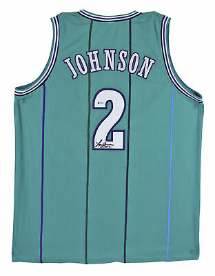 Hornets Larry Johnson Authentic Signed Teal Jersey BAS
