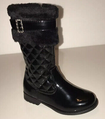 Girls Fashion Faux Suede/Leather Mid Calf Winter Warm Black Boots Size 10