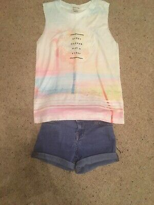 Girls River Island T Shirt And Denim Shorts Set. Age 3/4 Years