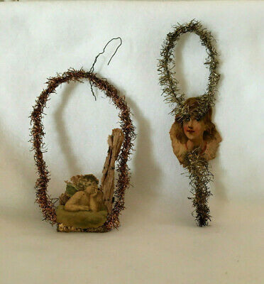 Antique Two Dresden German Tinsel Wire Paper Angels Christmas Ornaments W/Star