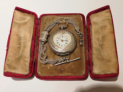 Antique Solid Silver Decorative Pocket Watch With Heart Shaped Dial.