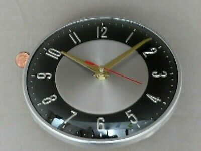 50/60s METAMEC BLACK WALL CLOCK, Vintage SILVER & GLASS, Retro QUARTZ AA BATTERY